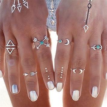 Canviuk Damen Ringe Set Nagel Finger Ringe Vintage Bohemian