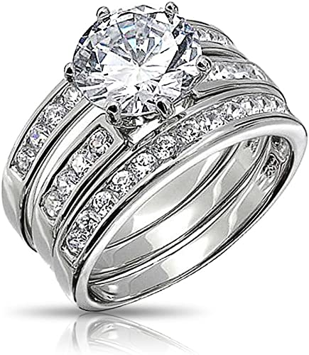 AAA Cr Diamond Solitaire Ring set in Rhodium over Sterling Silver