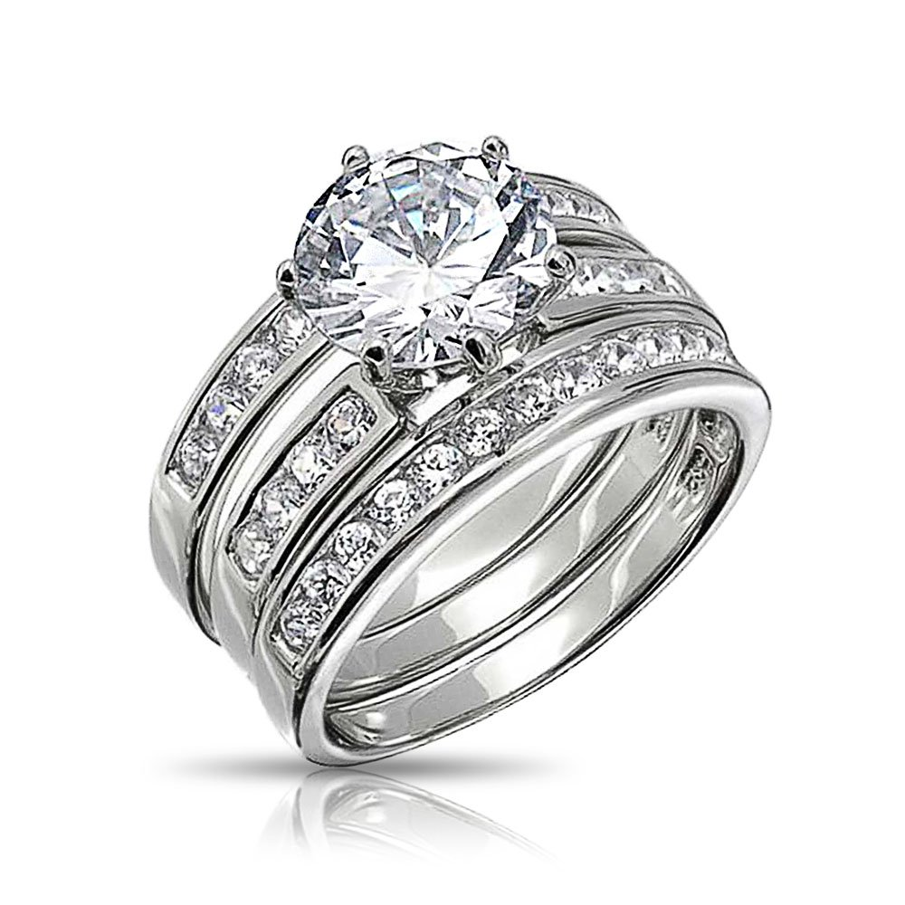 Bling Jewelry Round Cut 3 Piece CZ Bridal Engagement Ring Set 925 Silver DT-LR1585
