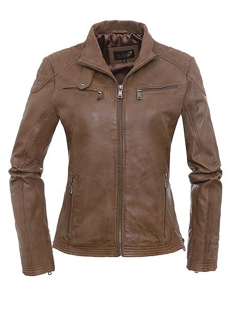 best website 73461 ae66d Jilani - Giacca - pelle - Donna marrone 52: Amazon.it ...