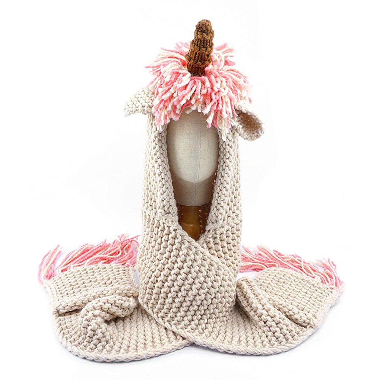SENSERISE Winter Kids Warm Animal Hats Knitted Hood Scarf Beanies 1 Pink Unicorn(3-10years Old) by SENSERISE (Image #4)