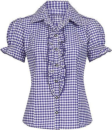 Bohmberg - Blusa para traje tradicional bávaro para mujer, blusa a cuadros en muchos colores, 100% algodón, talla 34 – 46: Amazon.es: Ropa y accesorios