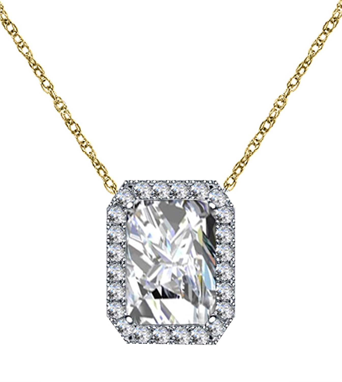 Girls Triostar 925 Sterling Silver Simulated Diamond Studded Pendant Necklace Jewelry for Women