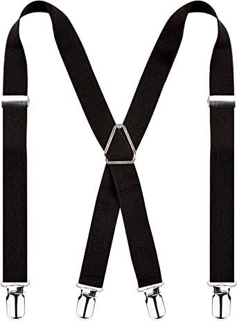 Suspenders for Men 2 inch Wide Adjustable X Back Elastic Strap with 4 Solid Straight Clips