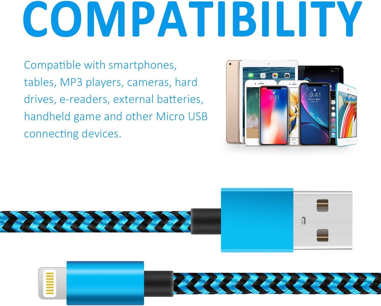 5 St/ück - 2m iPad Air Nylon Phone Kabel und Metallstecker f/ür iPhone 11//XS//XS MAX//XR//8//8 plus//7//7 Plus Phone Ladekabel, MFi Zertifiziert CNANKCU