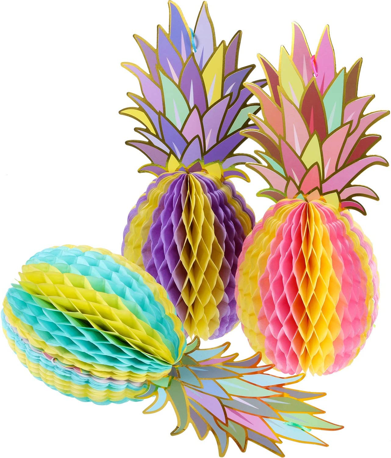 Hestya 6 Pieces Colorful Tissue Pineapple Honeycomb 12 Inch Paper Hawaii Fruit for Tropical Hawaiian Summer Theme Party Beach Decor Wedding Birthday Favor