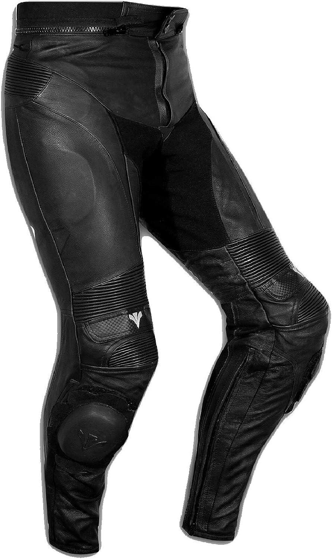 A-Pro Pantaloni Pelle Sport Moto Naked Protezioni Sliders Sportivo Tecnico Nero 28