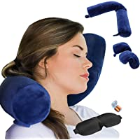 ZOYLEE Twist Memory Foam Travel Pillow Neck,Chin,Shoulder,Lumbar and Leg Support for Adult Airplane Traveling,Bus,Train and Office