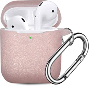 Vcegari Compatible with AirPods Case [Bling Special Version], Durable Anti-Dust Shock-Proof Silicone Protective Cover Skin for AirPods 2 AirPods 1 Charging Case with Firm Keychain, Rose Gold