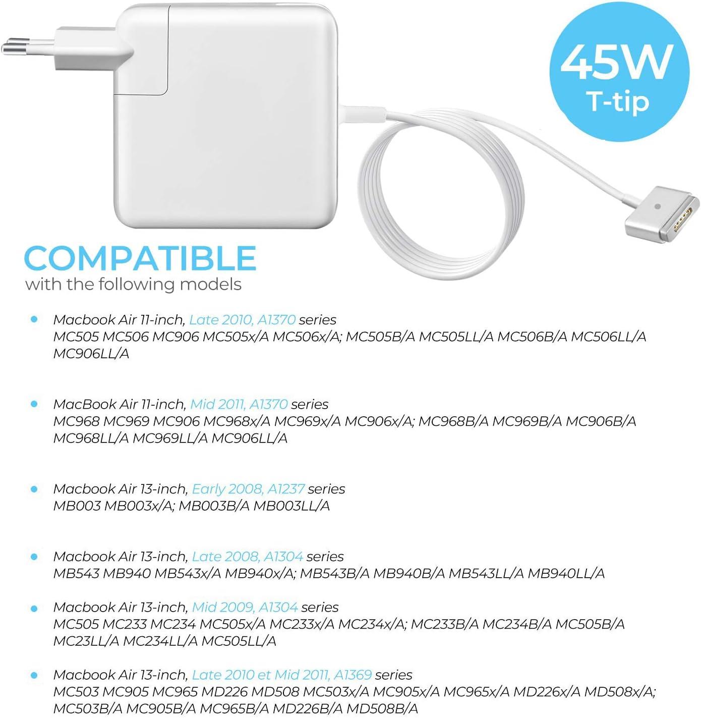 Magsafe 2 Cable de carga para MacBook Air 45 W mediados de 2012 2013 2014 2015 2016 2017 fuente de alimentaci/ón para MacBook Air de 13 pulgadas con forma de T