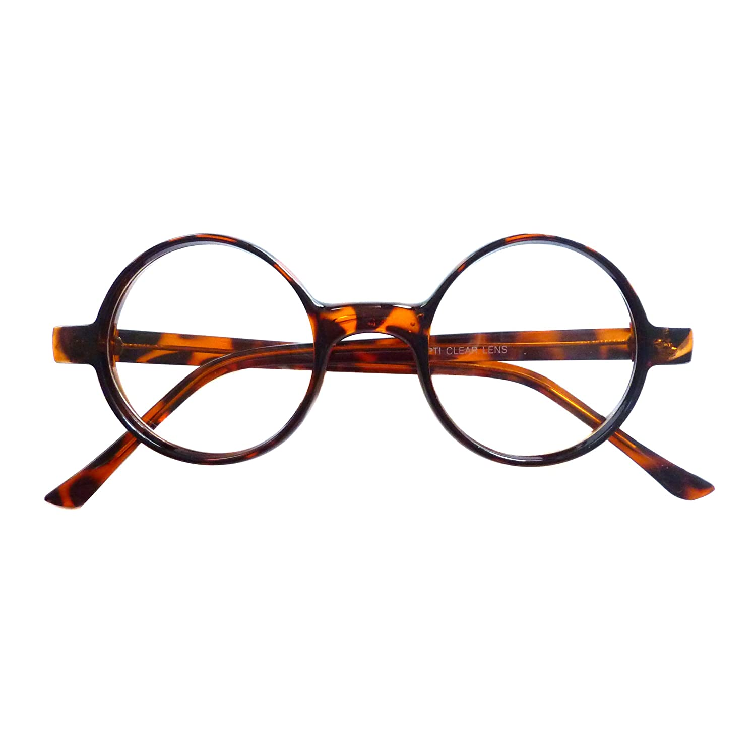 1ae9094225 Amazon.com  VINTAGE 50s 60s Style Round Frame Nerd Fashion Clear Lens Eye  Glasses TORTOISE  Clothing