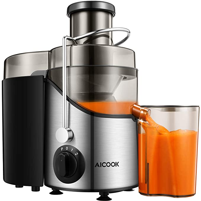 Juicer Machine, Aicook Juice Extractor with 3'' Wide Mouth, 3 Speed Centrifugal Juicer for Fruits and Vegs, with Non-Slip Feet, BPA-Free