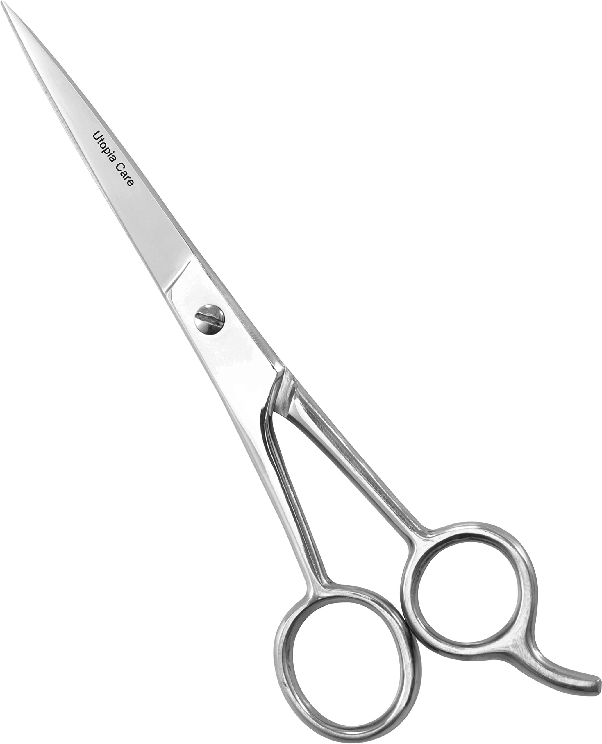 Professional Barber/Salon Razor Edge Hair Cutting Scissors / Shears (6.5-Inch) - Ice Tempered Stainless Steel Reinforced with Chromium to Resist Tarnish and Rust - by Utopia Care (Silver Shine)