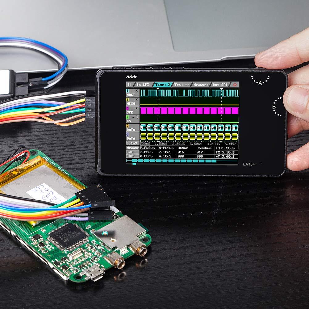 Beimaji Trade Analyseur Analyseur Logique Digital LA104 USB Mini 4 Canaux 100Mhz Max Taux d/échantillonnage Int/égr/é 8MB Flash Storage 2.8Oscilloscope