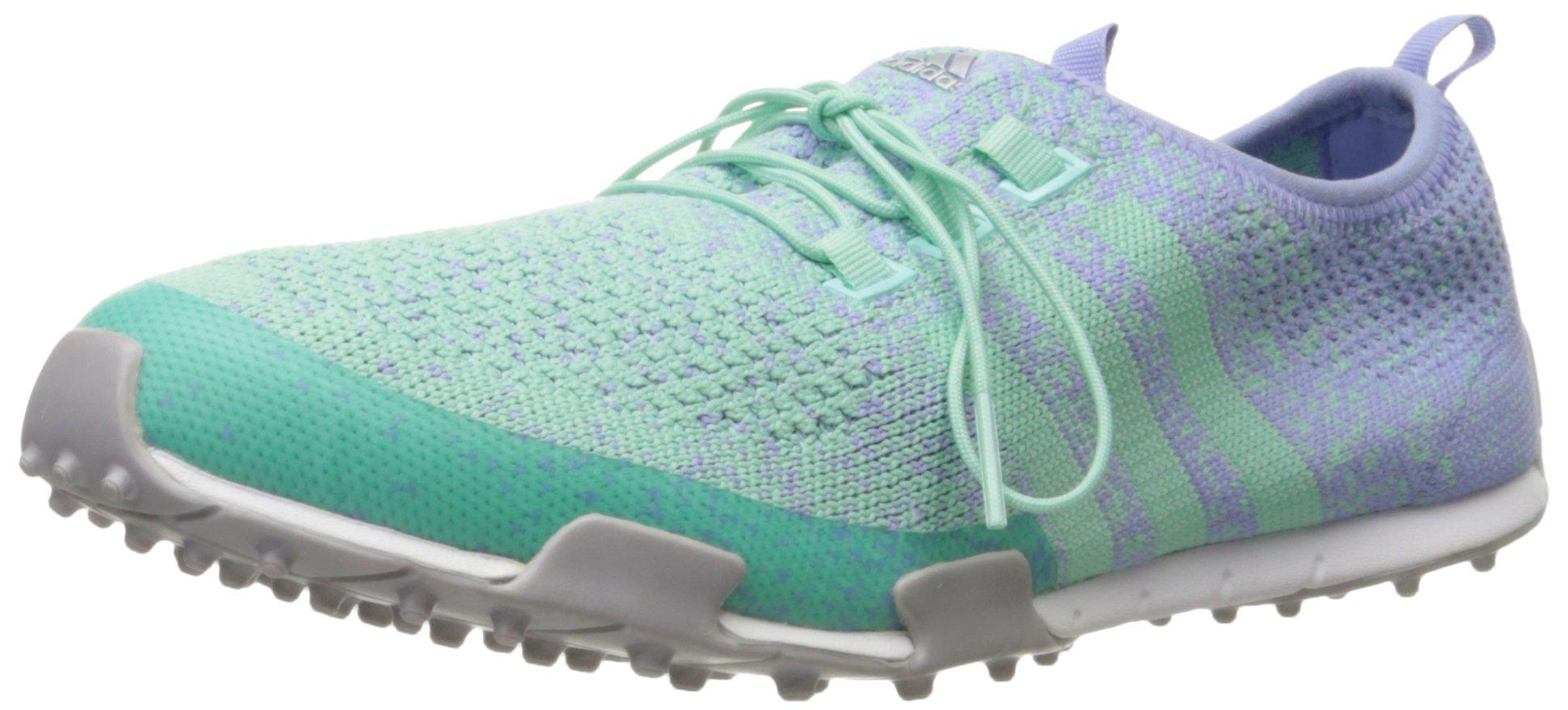 adidas Women's Ballerina Primeknit Golf Spikeless, Mint Burst-TMAG/Lavender Mist-TMAG/Silver Metallic,8 M US