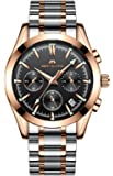 Mens Stainless Steel Chronograph Watches Men Luxury Waterproof Luminous Date Calendar Analogue Quartz Watch Gents Sports Multifunction Business Dress Wrist Watch with Rose Gold Case Black Dial