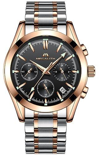 Relojes Hombre Acero Inoxidable Relojes de Pulsera de Lujo Marea Cronometro Impermeable Fecha Calendario Analogicos Cuarzo Reloj Oro Rosa Hombre Moda ...