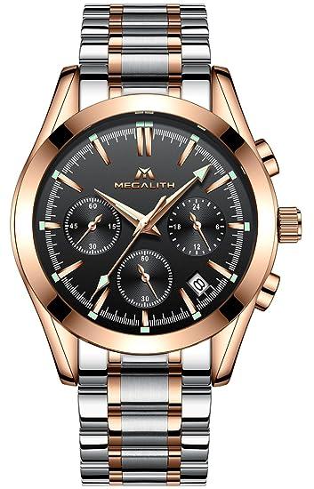 Relojes Hombre Acero Inoxidable Relojes de Pulsera de Lujo Marea Cronometro  Impermeable Fecha Calendario Analogicos Cuarzo Reloj Oro Rosa Hombre Moda  ... 438cf4d9e7c1