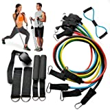Resistance Bands 12 Piece Set Exercise Fitness Workout Bands with Door Anchor Attachment, Foam Handles, Legs Ankle Straps, Exercise Guide and Waterproof Carrying Case for Physical Therapy Home Gyms
