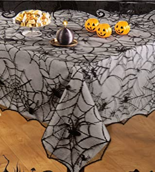 Awesome Halloween Black Spider Web Haunted Lace Fabric Tablecloth 60 X 84  Rectangle/Oblong