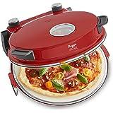 Pizzaofen Peppo rot - Pizzamaker für Pizza & Brot wie aus dem Steinofen bis zu 350°C mit Timer & Signallampe, 3 Garstufen, 1200 Watt inkl. Emaille-Bratpfanne & 2 großen Pizzawendern