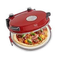 Pizzaofen Peppo - Pizzamaker für Pizza & Brot wie aus dem Steinofen bis zu 350°C mit Timer & Signallampe, 3 Garstufen, 1200 Watt inkl. Emaille-Bratpfanne & 2 großen Pizzawendern