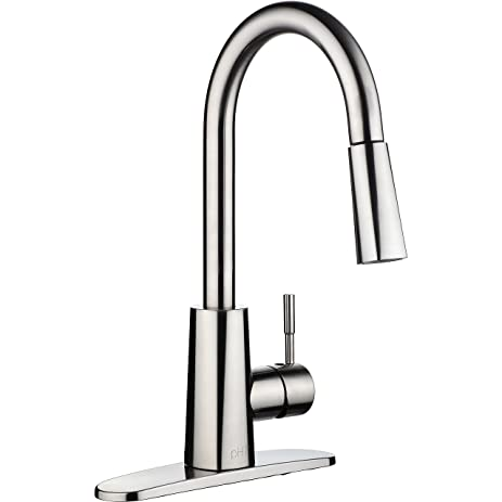 ph7 single handle pull down sprayer kitchen sink faucet brushed nickel kitchen faucets with deck plate