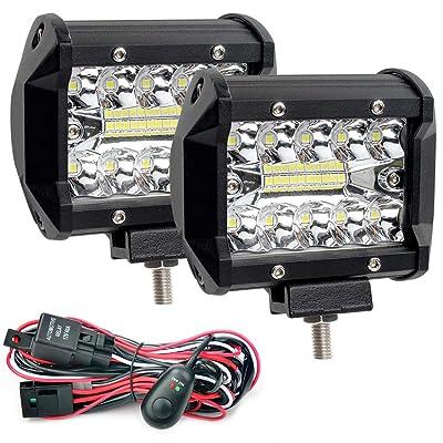 Waterproof LED Light Bars with Wring Harness, GES 2Pcs 4Inch 120W Pod Flood Spotlight Off Road Lights Fog Lights for SUV Jeep Trucks ATV Cars: Automotive