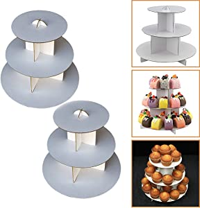 "Adorox 2 Pcs. 3-Tier (12""W x 10""H) White Round Cardboard Cupcake Stand Dessert Tower Treat Stacker Pastry Serving Platter Food Display (Round Stand (2Pcs.))"