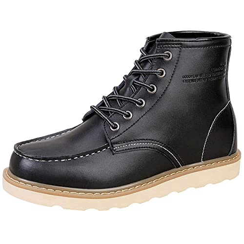 Men's Stylish Hidden Heel Elevator Shoes Soft Genuine Leather Ankle Boots