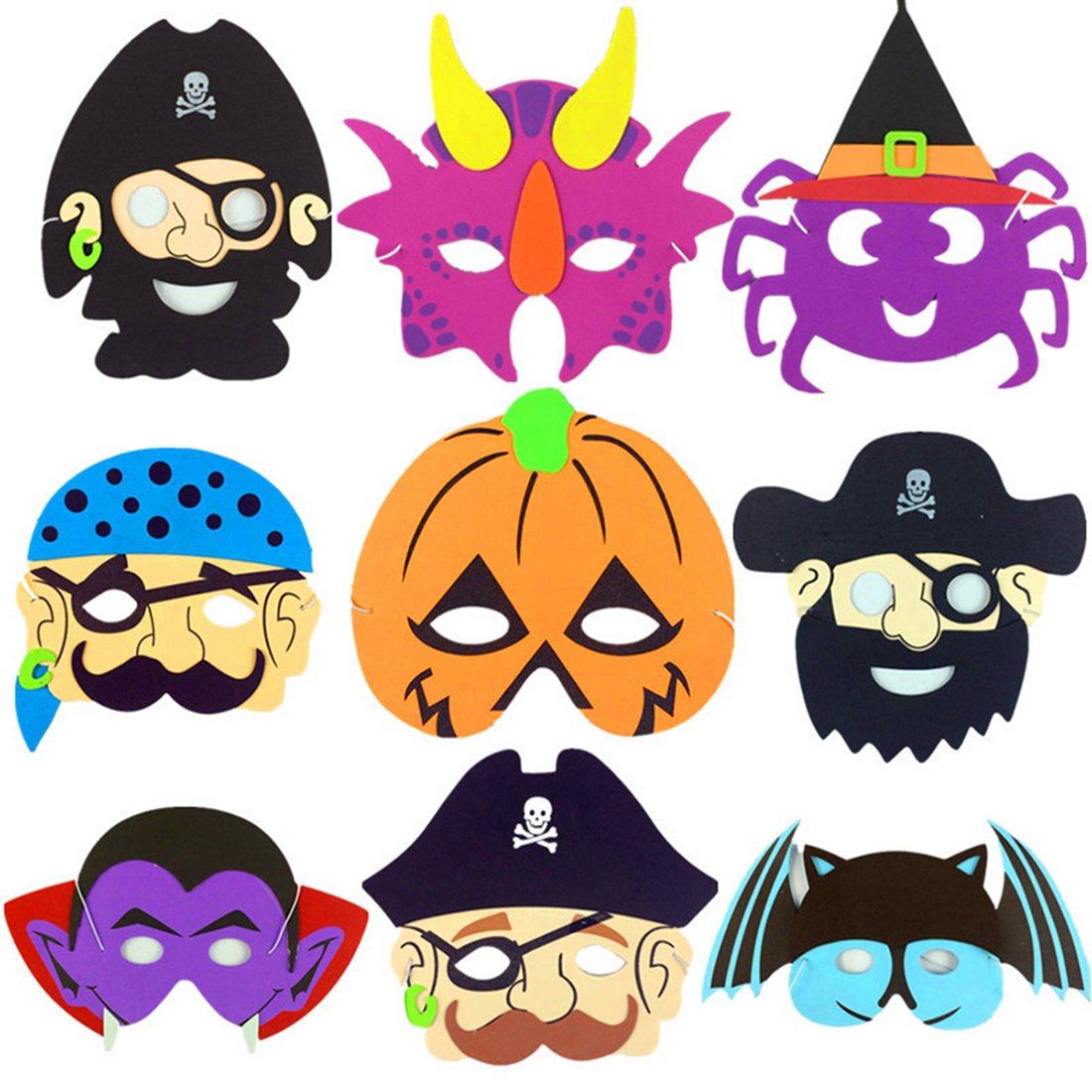 9PCS Halloween Mask Craft Kit - For Kids All Ages, Party, Halloween, Dress-Up, Prop, Costume With Elastic Strap