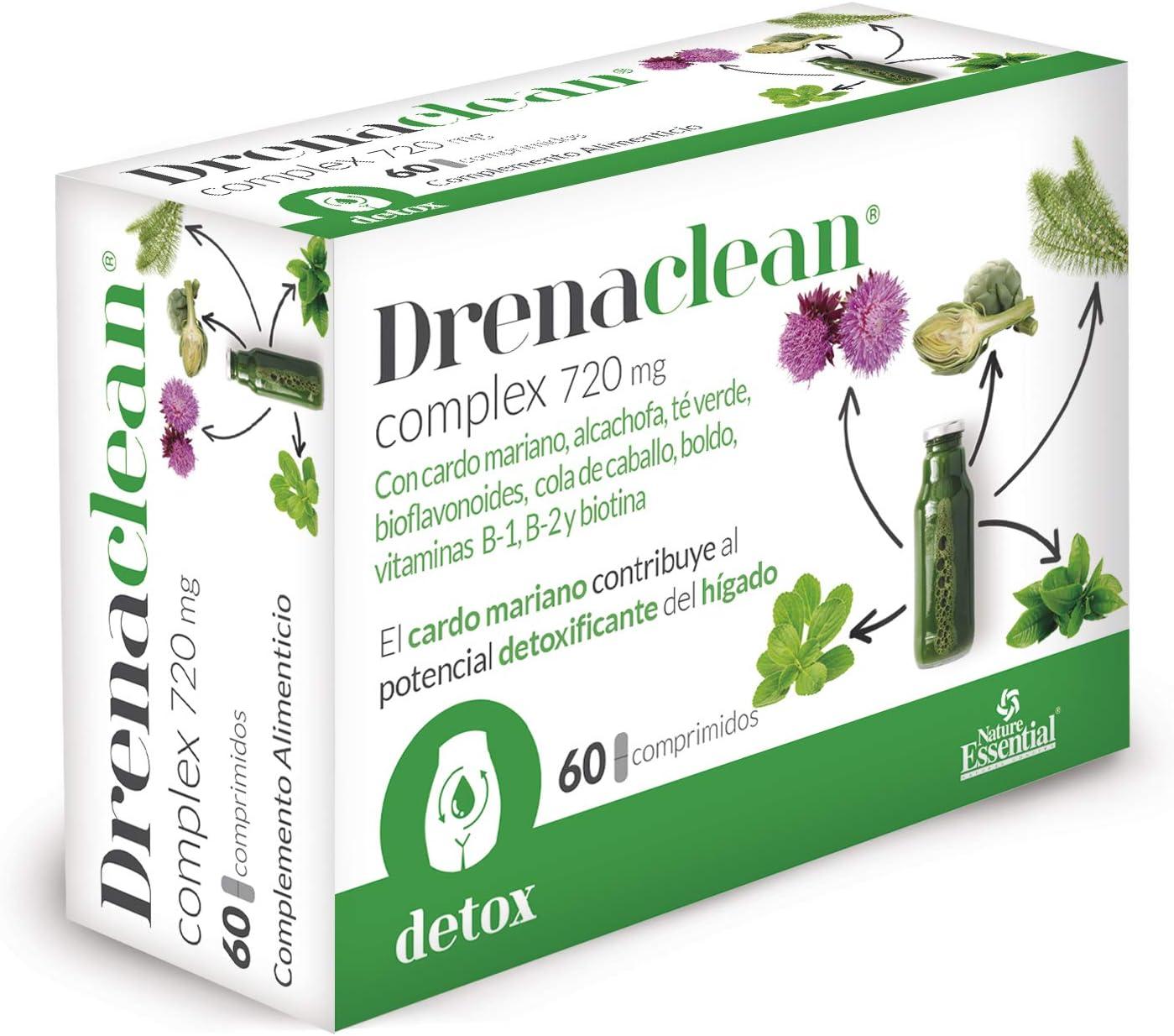Drenaclean® 720 mg 60 comprimidos con cardo mariano, alcachofa, bioflavonoides, té verde, cola de caballo, boldo, vitamina B-2, B-1 y Biotina.