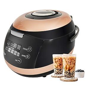 YJINGRUI Commercial Fully Automatic Pearl Pot Pearl Tapioca Cooker Pearl Maker 5L Boba Tea Bubble Tea Milk Tea Touchscreen 110V