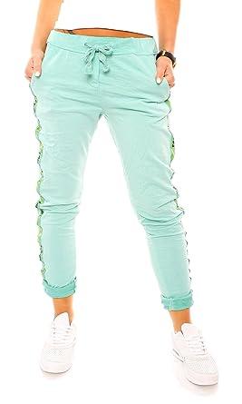 Damen Vintage Sweat Jersey Sport Relax Hose Sweatpants Jogginghose  Joggpants Jogger Seitenstreifen Love Lang Baumwolle Einfarbig 9435d5137d