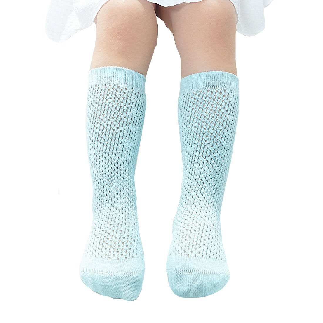 abf2634ef5f Amazon.com  4 Pack Baby Girls Toddler Infants Knee High Stockings Hollow  Out Uniform Ruffled Tube Socks  Clothing