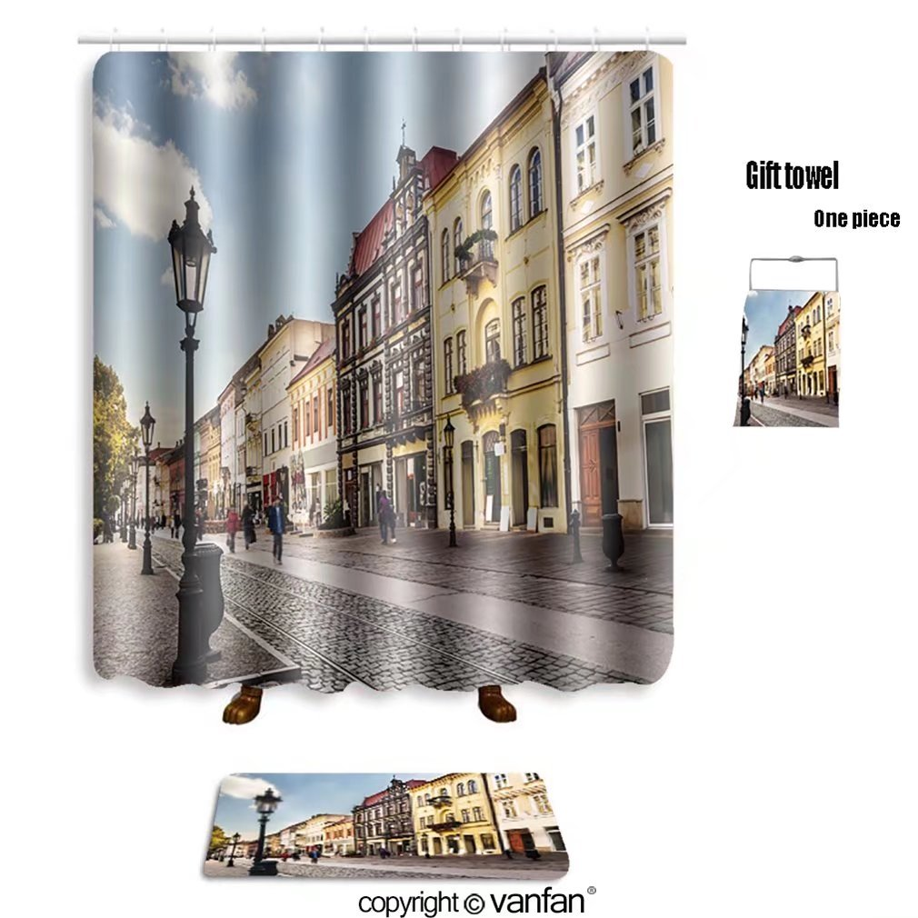 vanfan bath sets with Polyester rugs and shower curtain hlavna street ko ice slovakia european capita shower curtains sets bathroom 69 x 84 inches&31.5 x 19.7 inches(Free 1 towel and 12 hooks)