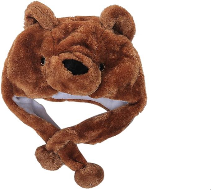 DARK BROWN GRIZZLY BEAR PLUSH ANIMAL HAT soft earmuff winter costume novelty cap