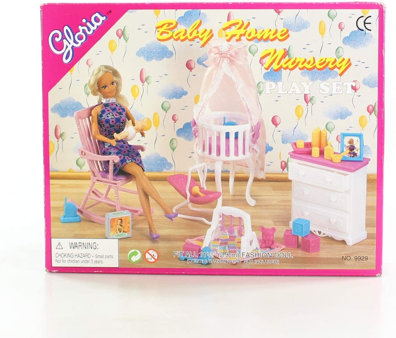gloria Baby Home Nursery Play Set for Dolls and Dollhouse Furniture Wong on