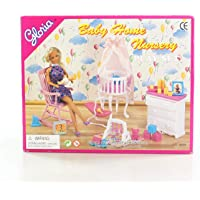 Gloria Dollhouse Furniture - Baby Home Nursery Playset