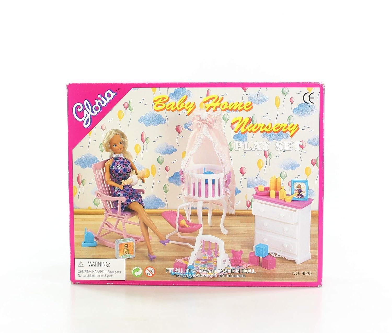 Gloria Dollhouse Furniture - Baby Home Nursery Playset