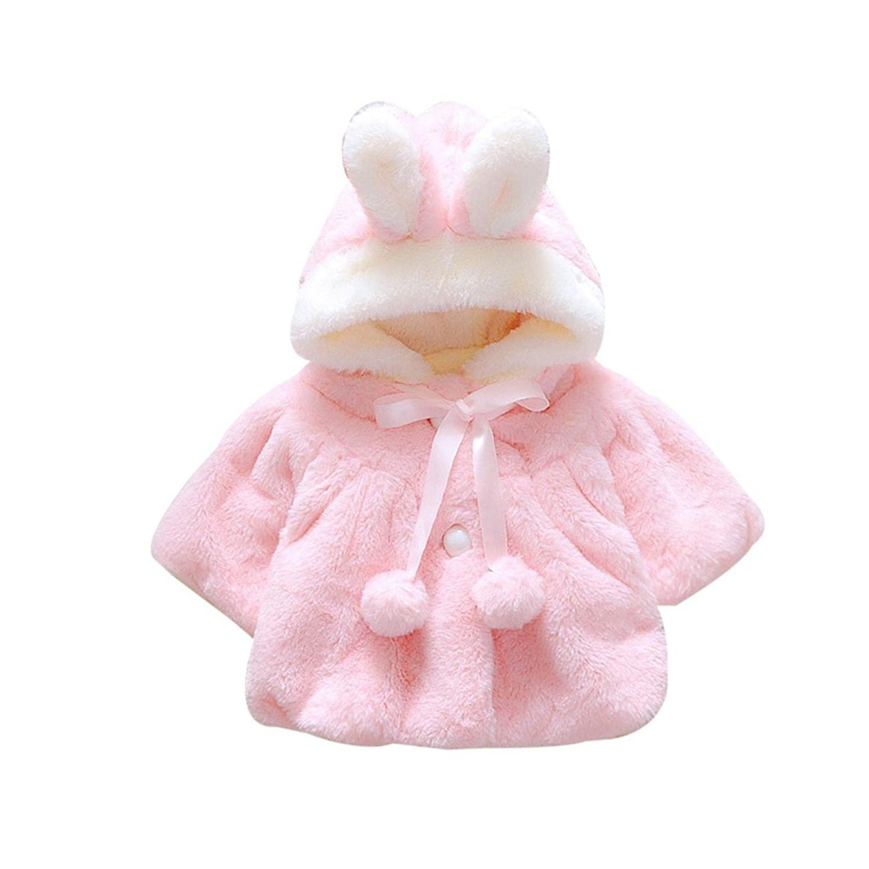Gemini_mall® Newborn Infant Baby Girl Faux Fur Warm Winter Hooded Cape Cloak Hoodie Coat