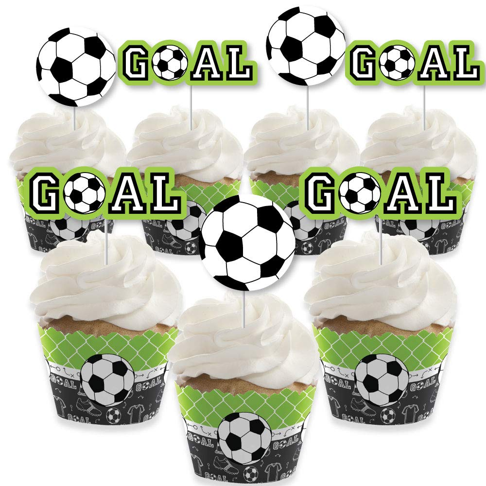 Big Dot of Happiness Goaaal - Soccer - Cupcake Decoration - Baby Shower or Birthday Party Cupcake Wrappers and Treat Picks Kit - Set of 24 by Big Dot of Happiness