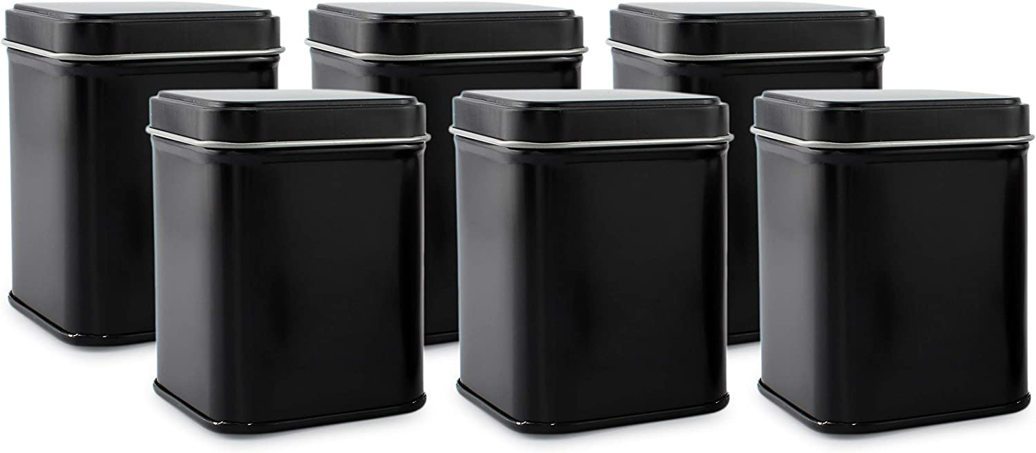 Cornucopia Square Black Metal Tins (6-Pack); for Tea, Gift Boxes, and Storage, 3-Inch Tall, 1-Cup Capacity