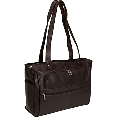 David King Leather Women's Multi Pocket Briefcase in Cafe
