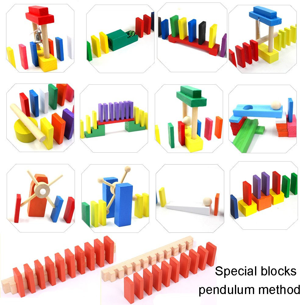 240pcs Wooden Domino Block Set With 12 pcs Special Projects,10 Colors Tiles Educational Toys Racing Toy Game For Kids ZHX