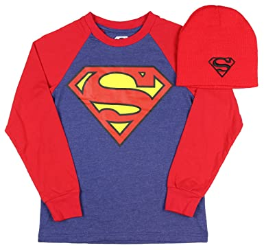 398f4c73 DC Comics Superman Boys Long Sleeve Graphic Shirt with Red Beanie (Medium 8)
