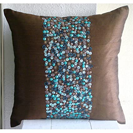 Amazon The HomeCentric Luxury Brown Throw Pillow Covers 40D Gorgeous Brown And Turquoise Decorative Pillows
