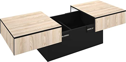 Berlioz Creations Table Basse Coffre De Rangement Bar Panneaux De Particules De Type Agglo Ep 16mm Frene Et Noir 113 X 60 X 40 Cm Amazon Fr Cuisine Maison