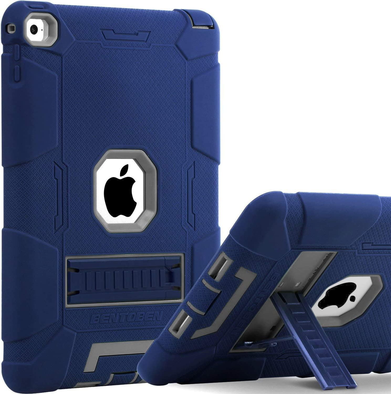 BENTOBEN Case for iPad Air 2, [Hybrid Shockproof Case] with Kickstand Rugged Triple-Layer Shock Resistant Drop Proof Protective Case Cover for iPad Air 2 (A1566 A1567) 2014 Released, Navy Blue/Gray
