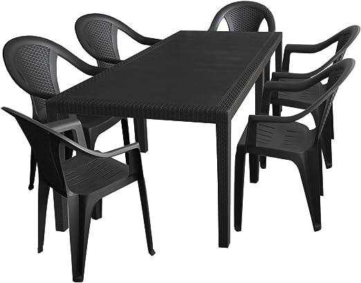 7 piezas. Jardín Jardín Mesa, ampliable, 150/220 x 90 cm + 6 sillas apilables, ratán, plástico, antracita/Juego De Muebles de Jardín: Amazon.es: Jardín